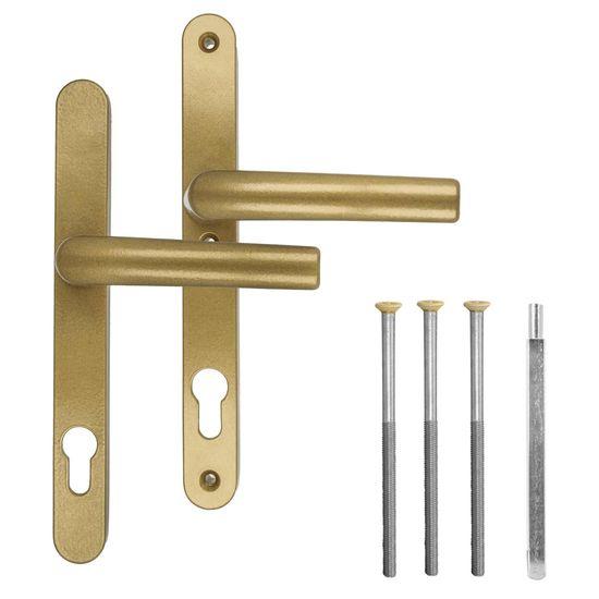 Türgriff / Türdrücker / Türklinke / Drückergarnitur DHS 92mm (Schildbreite 28mm) - Gold F4