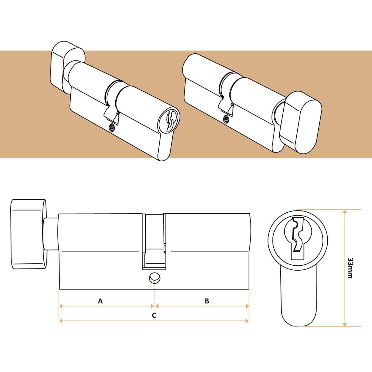 Schlie/ßzylinder mit Knauf Profilzylinder inkl T/ürschloss 3 Schl/üsseln 45 x 50mm Zylinderschloss
