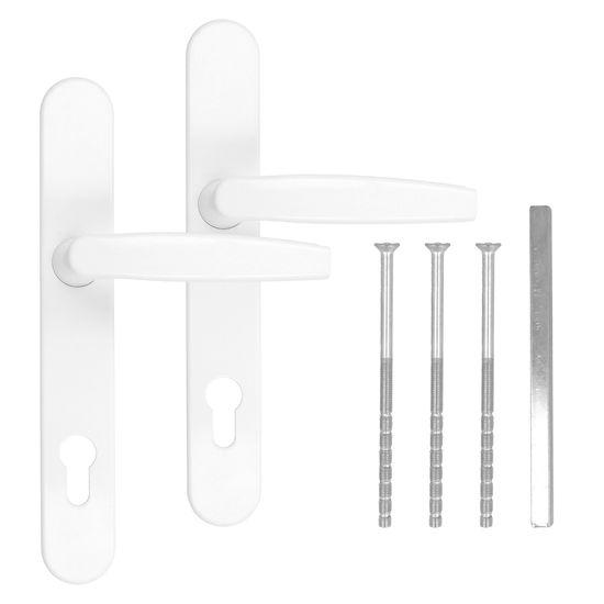 Türgriff / Türdrücker / Türklinke / Drückergarnitur DHS 92mm (Schildbreite 25mm) Oval - Weiß RAL 9016